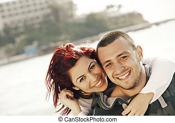 turkish couple at sea - young turkish happy couple on the...