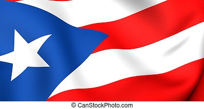 Flag of Puerto Rico. Close up. 3d