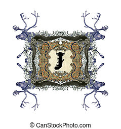Letter J - The Victorian capital letter J with four owls and...