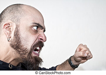 violent man with an attitude quarrelsome on white background
