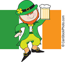 Leprechaun Flag - A leprechaun is dancing with a mug of beer...