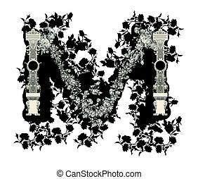 Letter M - Luxuriously illustrated old capital letter M with...