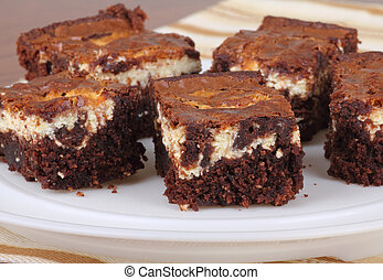 Chocolate Cheesecake Brownies - Pieces of chocolate...