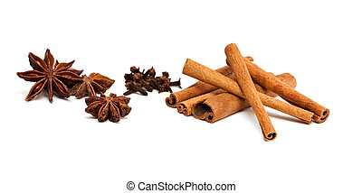 Set of spices - Cinnamon sticks, anise and cloves isolated...