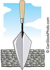 Trawl and Brick Wall - Brick layers trowel in front of a...