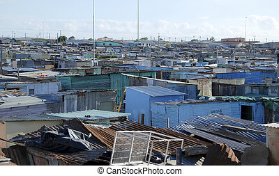 township, south africa - view over township in south africa,...