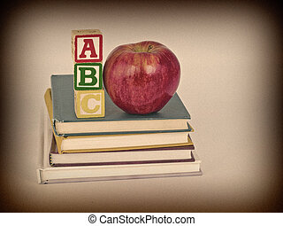ABC Blocks and Apple on Children's Books Sepia Style - ABC...