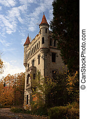 The castle in Gothic style on a background of paints of...