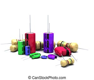 Capacitors Resistors and semi-conductors - 3D Render of...