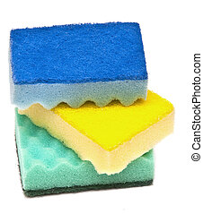 sponge dish - sponge for cleaning isolated on white...