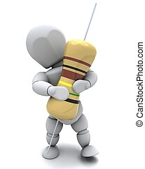 Man with A Resistor - 3D Render of a Man With A Resistor