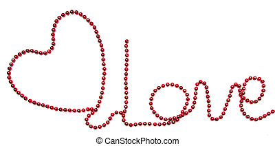 "symbol heart and word ""love"" of beads"