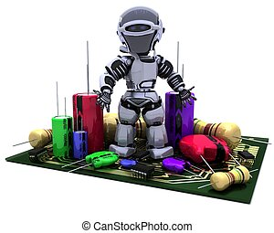 Robot With Capacitors Resistors and semi-conductors - 3D...