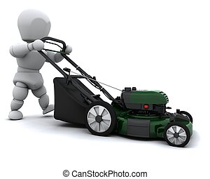 Man Mowing the Lawn - 3D render of a man mowing the lawn