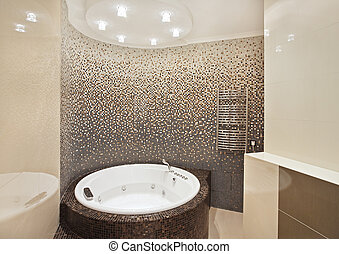 Bathroom with jacuzzi and mosaic on wide angle view