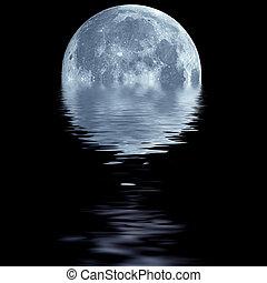azul, luna, encima, agua