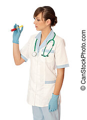 new antibiotic - Woman holds in the hand syringe with a new...