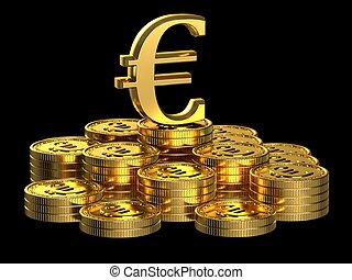 Gold Euro coins.