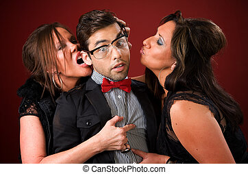 Two older women with a shy young man - Two aggressive cougar...