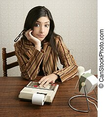 Accountant retro woman calculator negative expression -...
