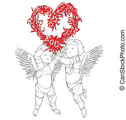 Two Angels With Heart - Two Angels With A Wreath In The...