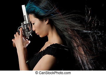 Asian girl with gun - Dangerous Chinese woman with handgun...