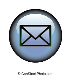 Postal Envelope Button - A circular postal envelope web...