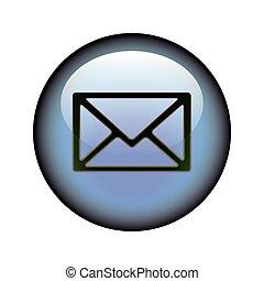Postal Envelope Button - A circular postal envelope web...