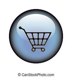 Shopping Cart Button - A circular shopping cart web button