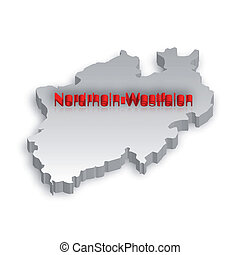 North Rhine-Westphalia Map - A simple 3D map of North...