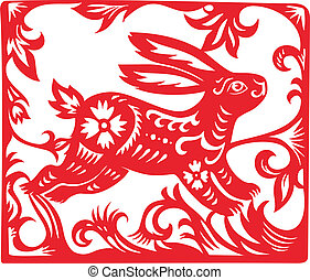 Chinese Zodiac of Rabbit Year. Simbol of the  New Year 2011.