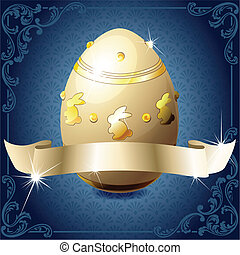 Elegant banner with chocolate egg