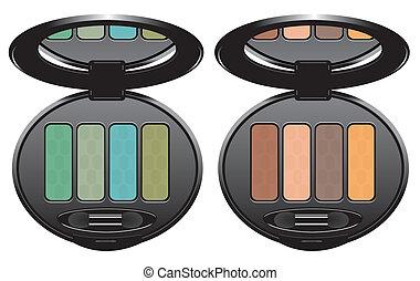 sets of multicolored eye shadows