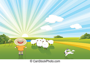 Sheeps and dog - Illustration, sheeps shepherd and dog on...
