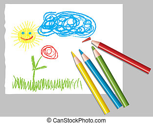 childs drawing and colored pencils - vector sheet of paper...