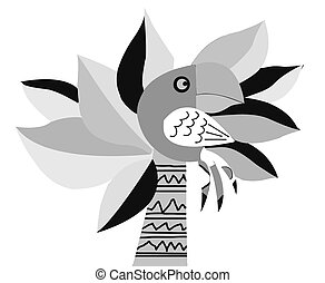 vector drawing of the parrot on palm