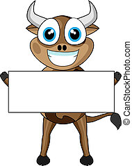 Cute Cow Holding a Blank Sign - Vector Illustration of a...