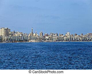 cidade, Alexandria, Egito, mar, vista