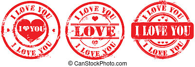 Postal stamp i love you Vector illustration