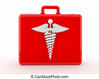 Sign of medicine on medical suitcase