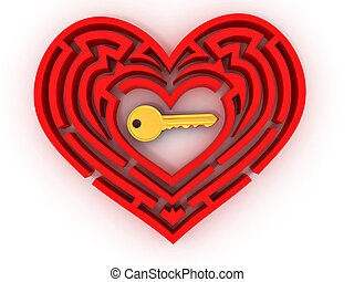Key in the center of labyrinth in form of heart. 3d