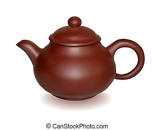 Clay brewing teapot on a white background