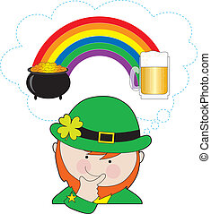 Leprechaun Rainbow Beer - A leprechaun is pondering what is...