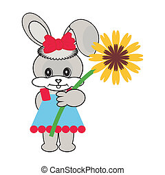 nice hare with flower
