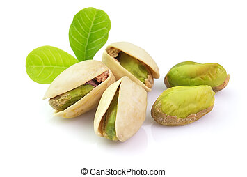 Fresh pistachio with leaves