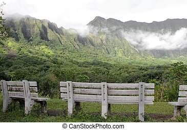 Koolau Mountains peaceful scene - Koolau Mountains in...