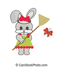 nice hare with butterfly net on white background vector...
