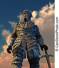 Celestial Knight - Looking up at armored knight against a...