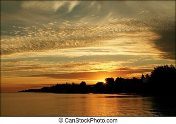 Lake Superior - Beautiful sunset at Lake Superior in...