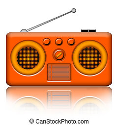 Radio receiver - Classic stereo radio receiver isolated over...